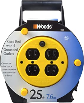 Woods Extension Cord Reel with 4-Outlets 16/3 SJTW & 12A Circuit Breaker