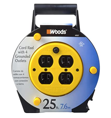 woods 4907 extension cord reel with 4 outlets 16 3 sjtw and 12a rh amazon com