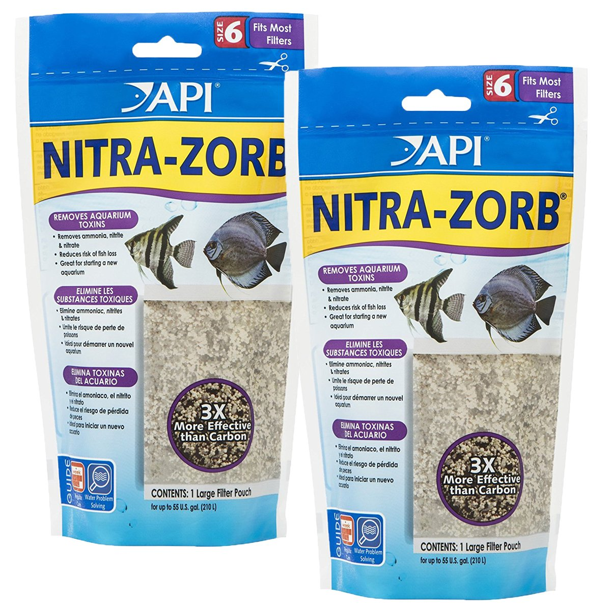 API NITRA-ZORB SIZE 6 Aquarium Canister Filter Filtration Pouch 1-Count Bag (2-pack) by API