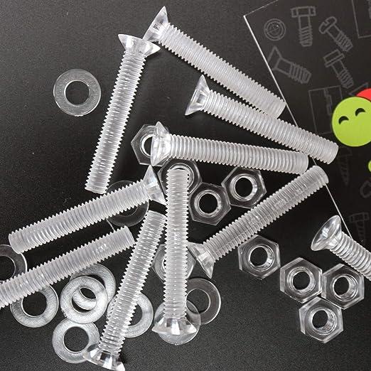 Paquete de 60 tornillos y tuercas de pl/ástico acr/ílico transparentes M5 x 40mm Arandelas