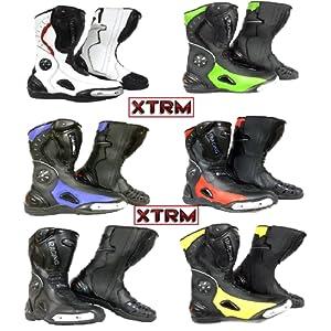bottes de moto scooter XTRM 705 course tourisme armure de sport urbain bottes toutes couleurs (EU 43 (UK 9), blanc)