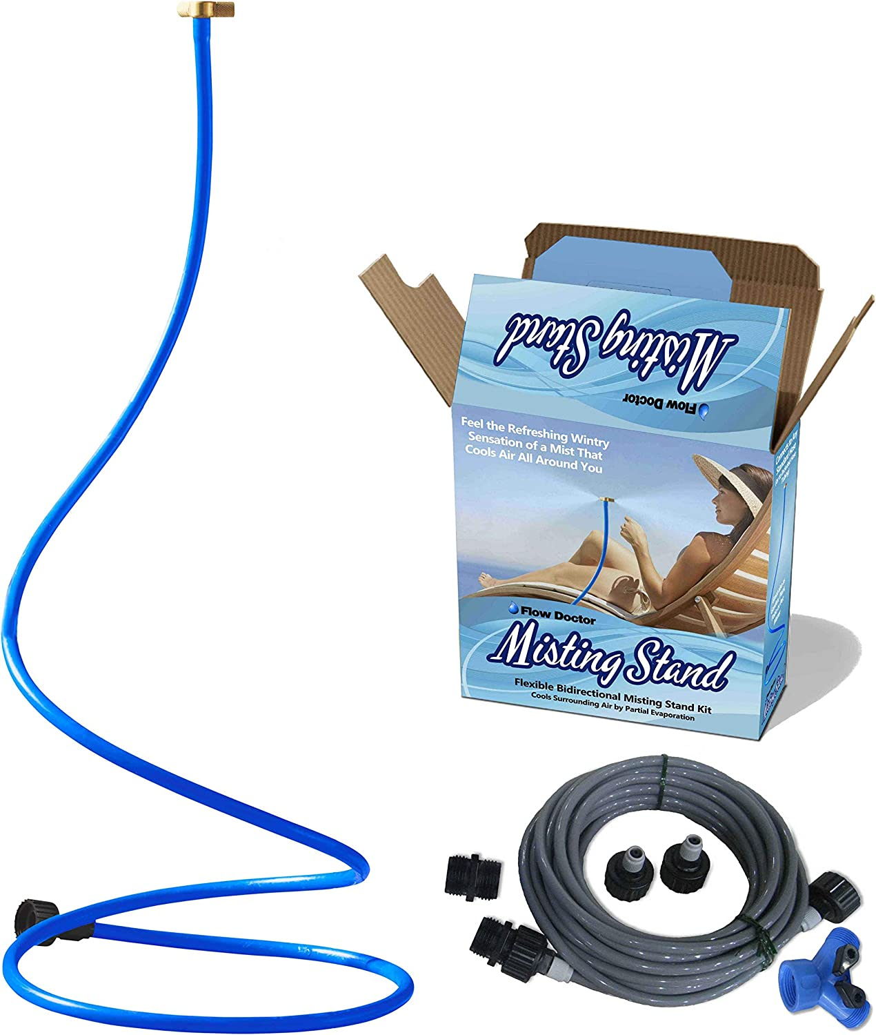 FLOW DOCTOR Bidirectional Misting Stand Air Mister Maker Provides Cooling Mist in Two Directions Simultaneously, Two Misters in One, Long 2 M Self Standing, Professional High Output Spa Mister Heads
