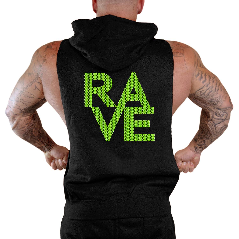 Mens Green Mesh Rave Sleeveless Zipper Hoodie