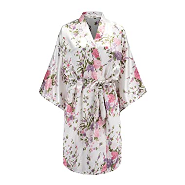 EPLAZA Women Floral Satin Robe Bridal Dressing Gown Wedding Bride Bridesmaid Kimono Sleepwear