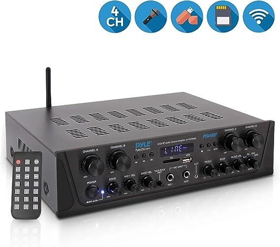 500W Karaoke Wireless Bluetooth Amplifier - 4 Channel Stereo Audio Home Theater Speaker Sound Power Receiver w/ AUX IN