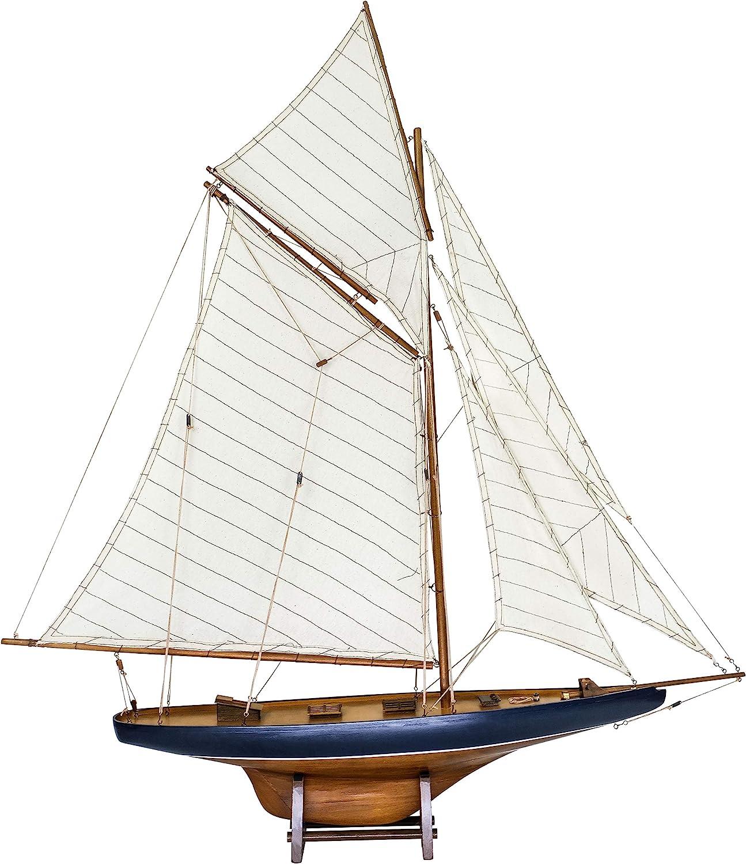 SAILINGSTORY Wooden Sailboat Model Ship Sailboat Decor Yacht Model America's Cup Columbia 1901 Replica Medium
