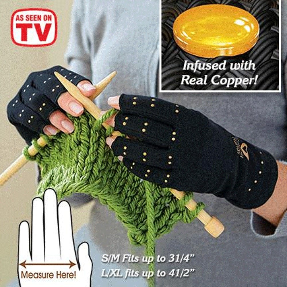S/M Copper Hands Arthritis Gloves As Seen on Tv Therapeutic Compression WITH BOX