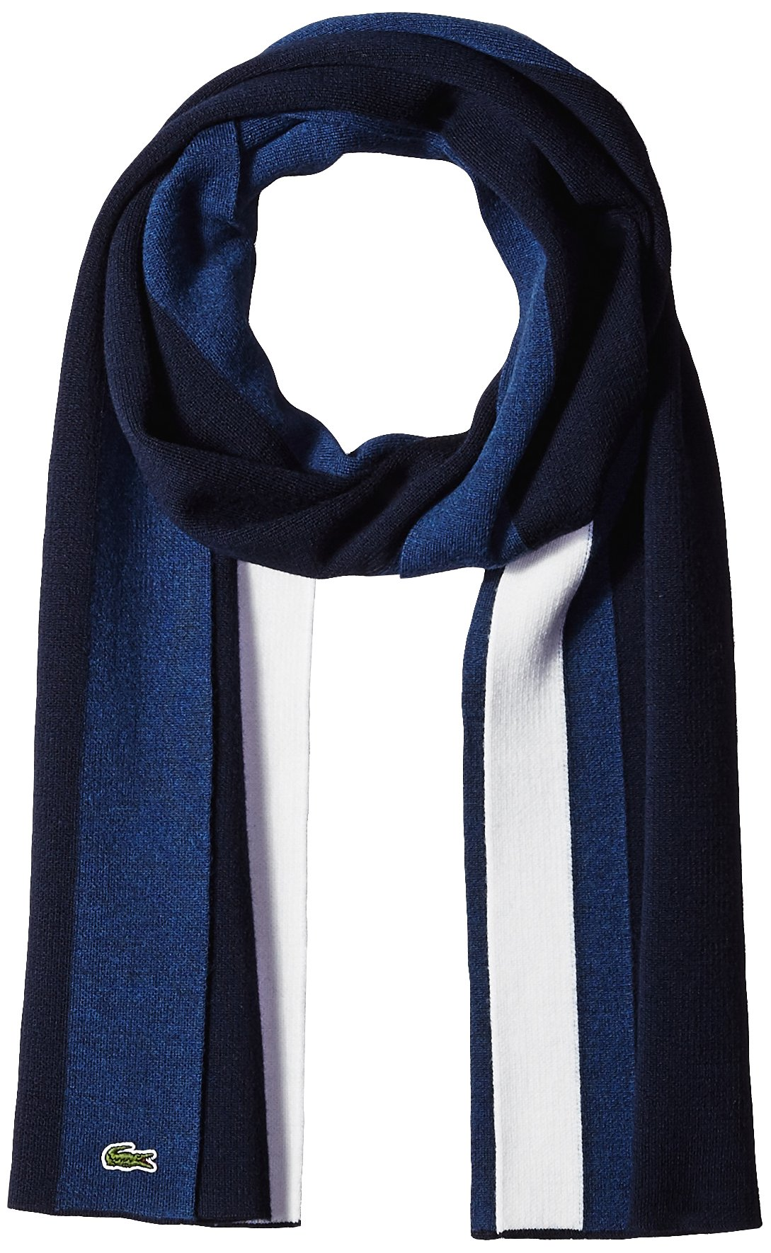 Lacoste Men's Mif Double Face Wool Scarf, Navy Blue/Philippines Blue/Flour, One Size