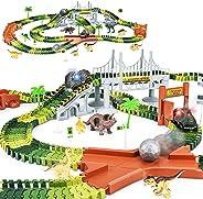 KKONES Dinosaur Toys-273pcs Create A Dinosaur World Road Race-Flexible Track Playset and 2 pcs Cool Dinosaur car for 3 4 5 6