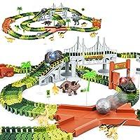 KKONES Dinosaur Toys-273pcs Create A Dinosaur World Road Race-Flexible Track Playset...