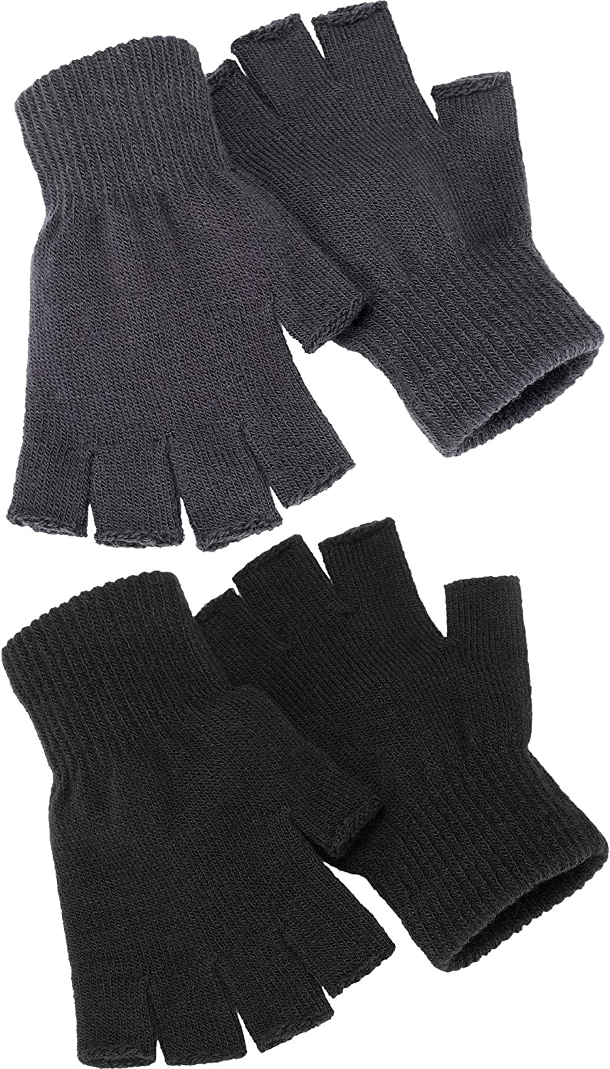 Satinior 2 Pair Unisex Half Finger Gloves Winter Stretchy Knit Fingerless Gloves in Common Size (Black+Grey)