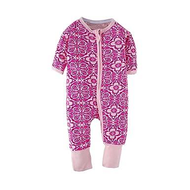 e5bb098162f3 BIG ELEPHANT Baby Girls 1 Piece Long Sleeve Pajama Flower Print Zipper  Romper Flower A