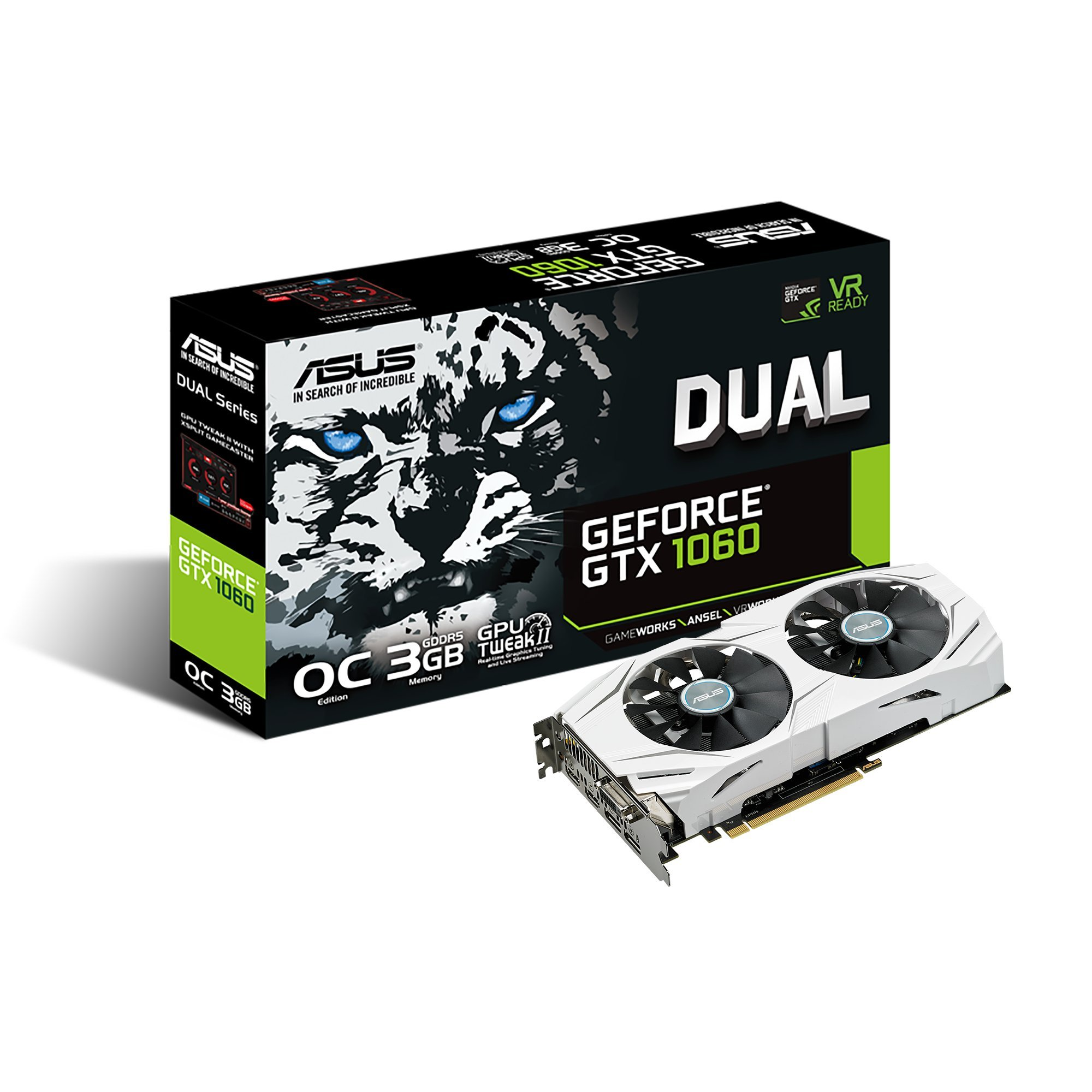 ASUS GeForce GTX 1060 3GB Dual-Fan OC Edition Graphics Card (DUAL-GTX1060-O3G) by Asus