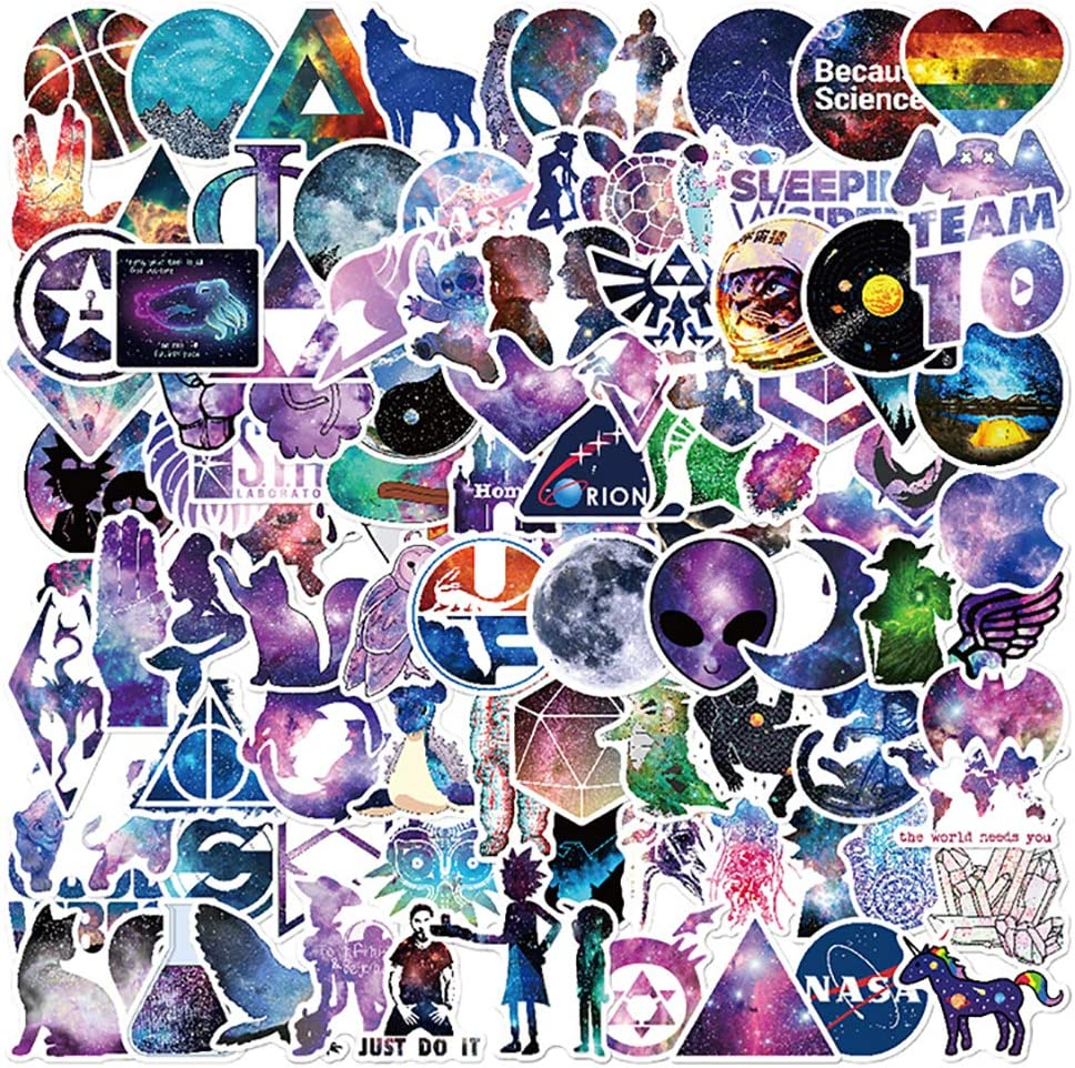 100 PCS Non-repetitive Stylish Galaxy Theme Graffiti Stickers Pack for Water Bottle Phone Laptop Bike Cup Guitar Computer MacBook Car Skateboard Travel Cute Stickers Pack for Teens Boys Girls Adults.