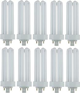 Pack of 10 PLT 26W GX24q-3 841, 26 Watt Triple Tube, 4 Pin Compact Fluorescent Light Bulb