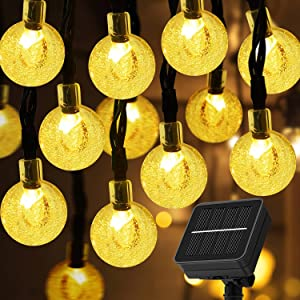 Solar String Lights Outdoor 66LED 40Ft Waterproof Fairy Lights with 8Modes,Solar Powered Crystal Globe Lights for Garden Fence Patio Home Party Christmas Decoration