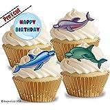 vorgeschnittenen Happy Birthday Delfine essbarem Reispapier/Waffel Papier Cupcake Kuchen Topper Geburtstag Party Dekorationen