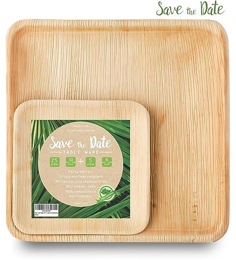 Amazon.com: Platos desechables de bambú, hojas de palma de ...