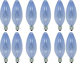 GE Lighting 75201 60-Watt 455-Lumen Blunt Tip Light Bulb with Candelabra Base, 12-Pack