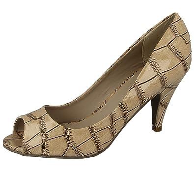 df49b43d3007 Ladies Kos Comfort Plus Nude Croc Effect Peep Toe Kitten Heel Evening Shoes  Size 3-