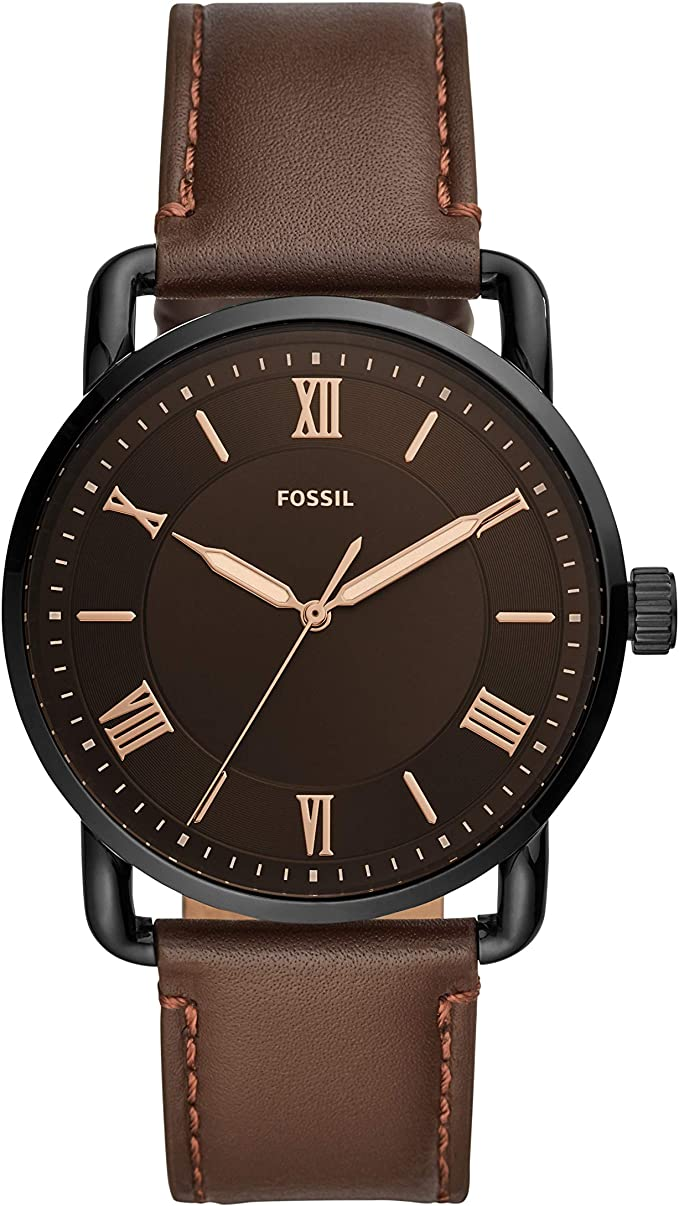 Fossil Mens Copeland Stainless Steel Quartz Watch with Leather Strap