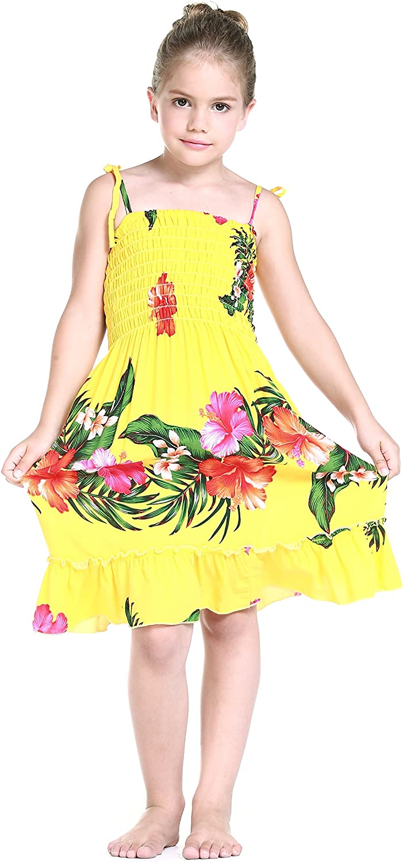 Girl Yellow Floral Hawaiian Luau Dress in Various Styles