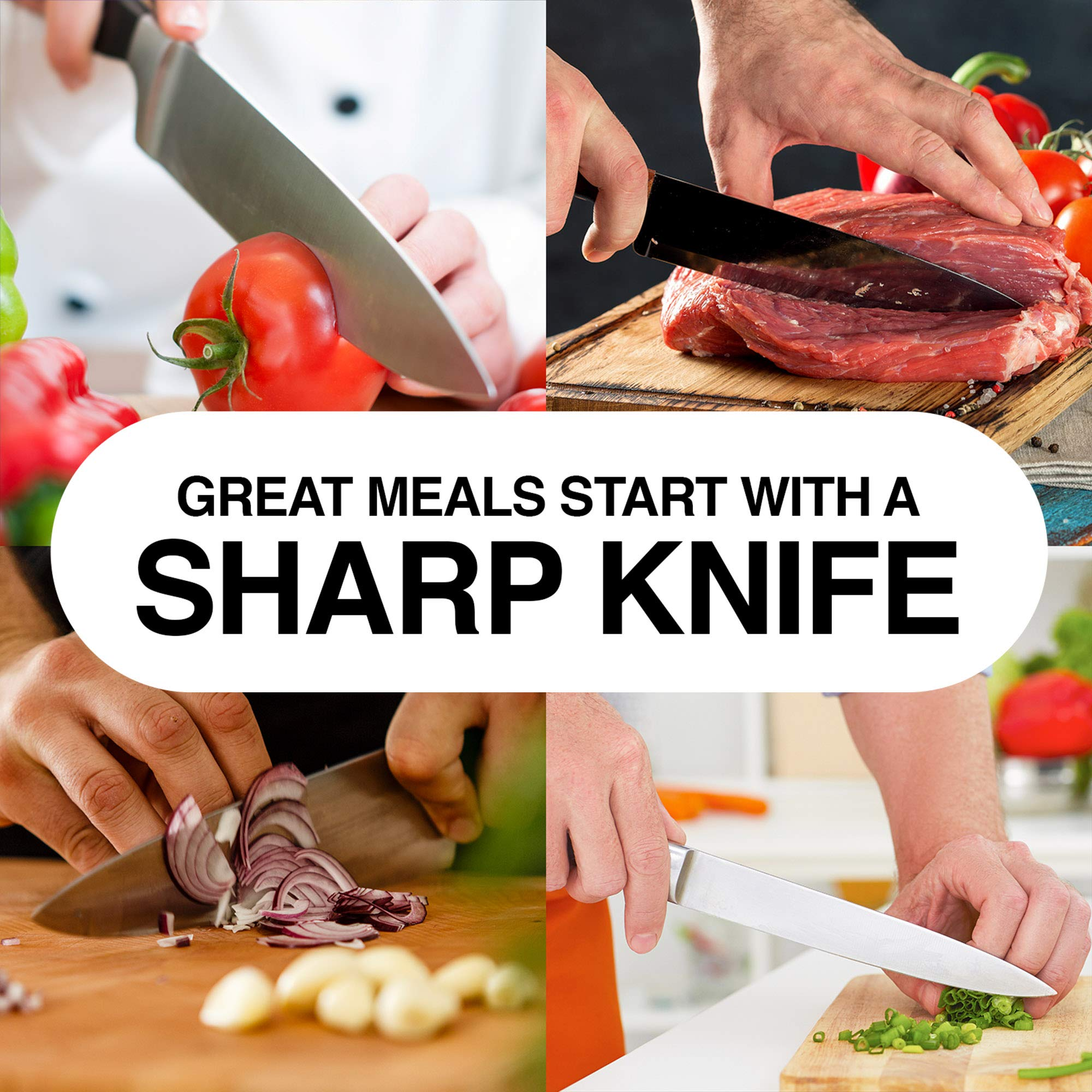 """Knife Sharpening Stone Grits 1000/6000 - Larger 8.25""""x 2.75"""" Premium Dual Whetstone Knife Sharpeners - Best for Chef & Kitchen Knives. Protective Case with Non-Slip Base & Cleaning/Lapping Stone Kit by Love This Kitchen (Image #7)"""