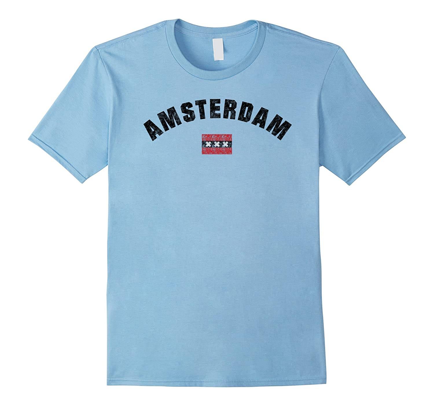 Amsterdam Flag Distressed City T-Shirt-FL