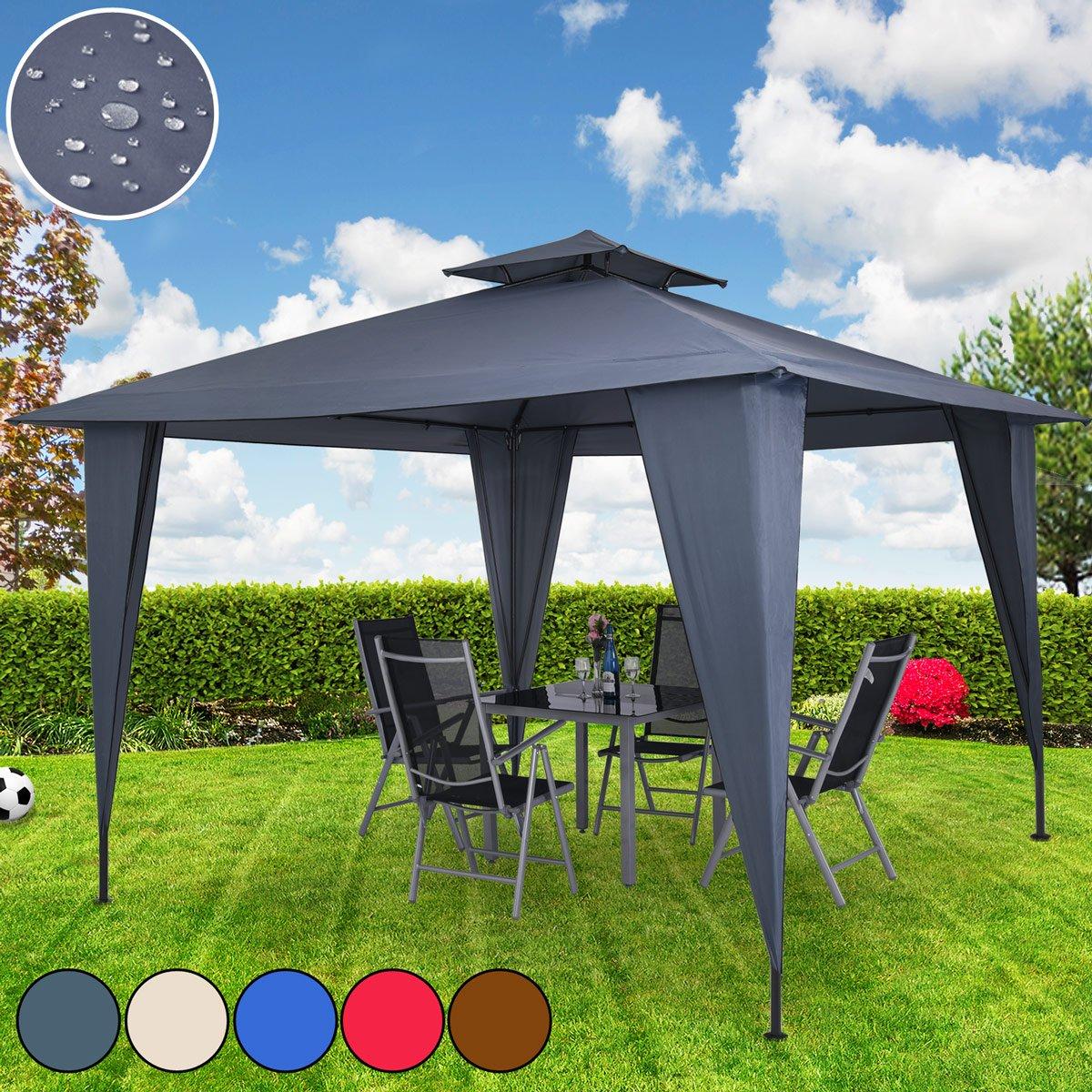 Deuba® Pavillon Sairee 3,5x3,5m   wasserdicht   Dachhaube   Festzelt Partyzelt Gartenzelt   Farbauswahl   UV-Schutz 50+  Anthrazit