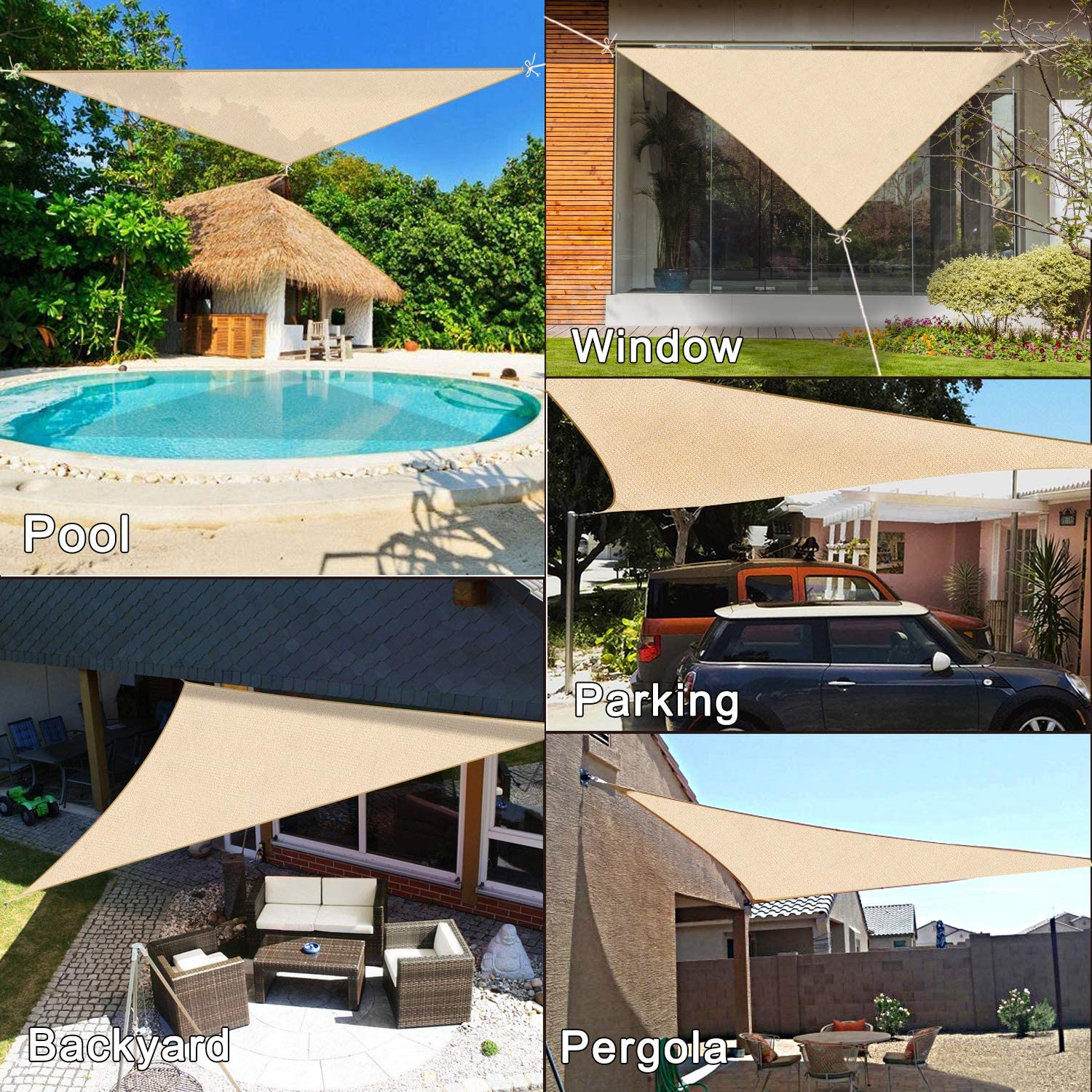 Avertex toldo Triangular de 12 pies x 12 pies x 12 pies: Amazon.es ...