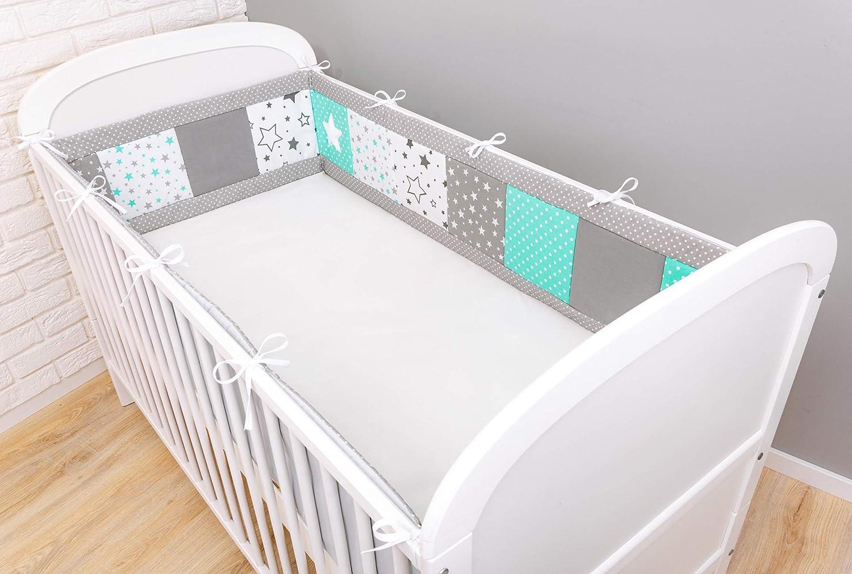 Amilian/® Bettumrandung f/ür Kinderbett Baby Nest Kopfschutz Nestchen Bettnestchen Baby Kantenschutz f/ür das Babybett 120x60cm- Kopfschutz MIX 22, 180cm