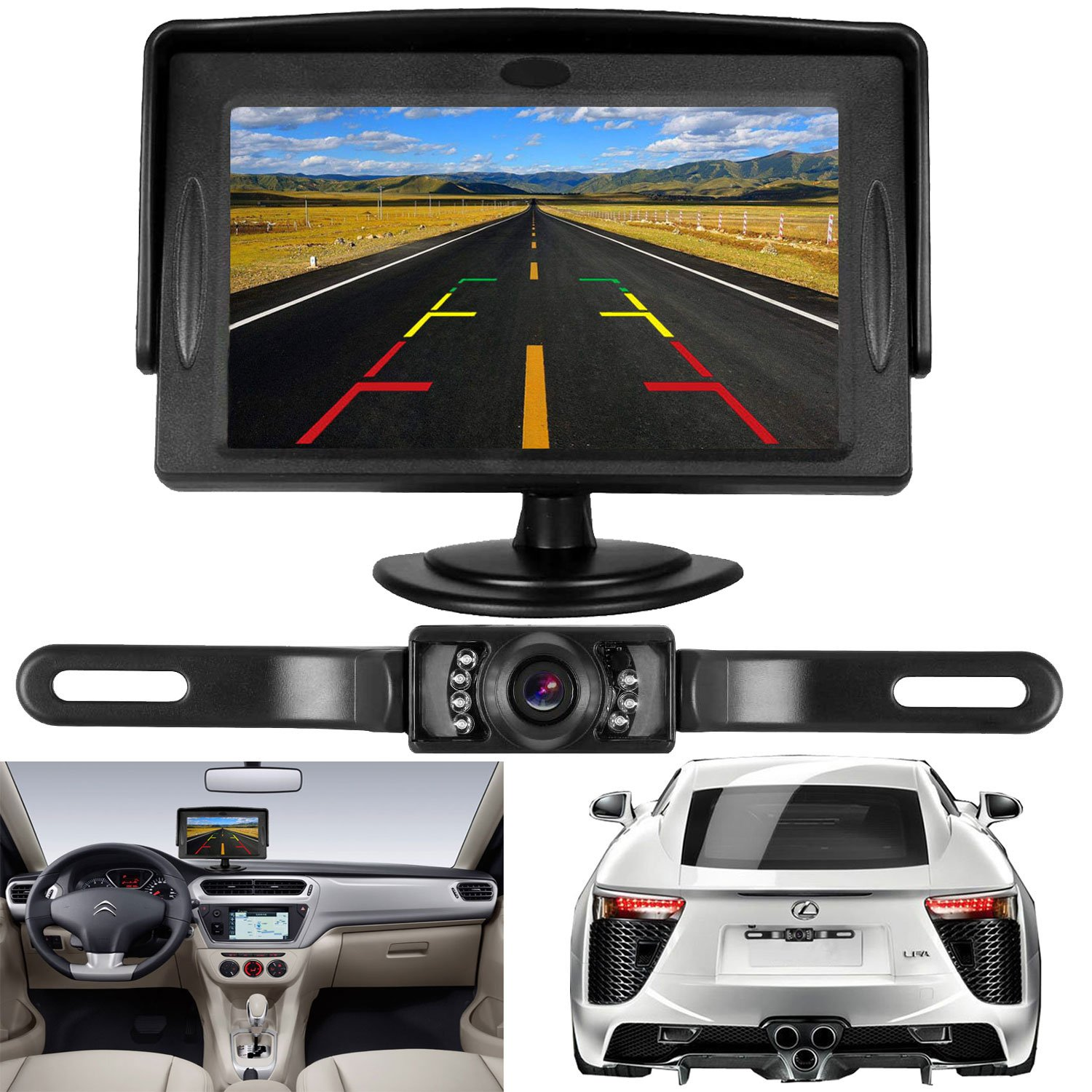 DohonesBest Backup Camera and 4.3 Monitor Kit For Car/SUV/Truck/Van/Camper Wire Single Power for Whole Rear View Camera System Rear View/Continuous View Optional IP68 Waterproof Night Vision