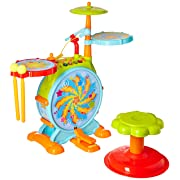 Dimple Electric Big Toy Drum Set for Kids with Movable Working Microphone to Sing and a Chair - Tons of Various Functions and Activity, Bass Drum and Pedal with Drum Sticks (Adjustable Volume)