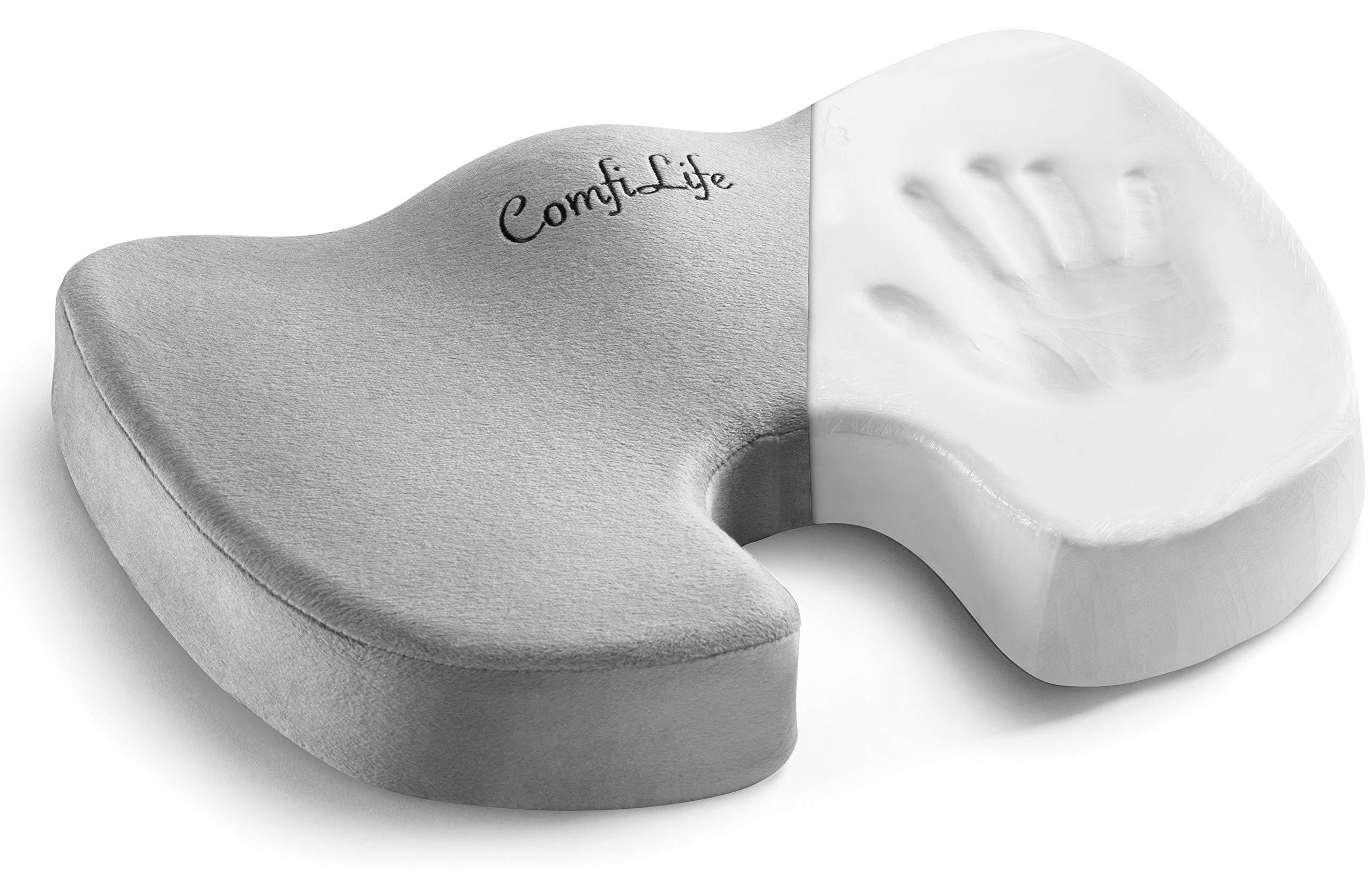 ComfiLife Premium Comfort Seat Cushion - Non-Slip Orthopedic 100% Memory Foam Coccyx Cushion for Tailbone Pain - Cushion for Office Chair Car Seat - Back Pain & Sciatica Relief