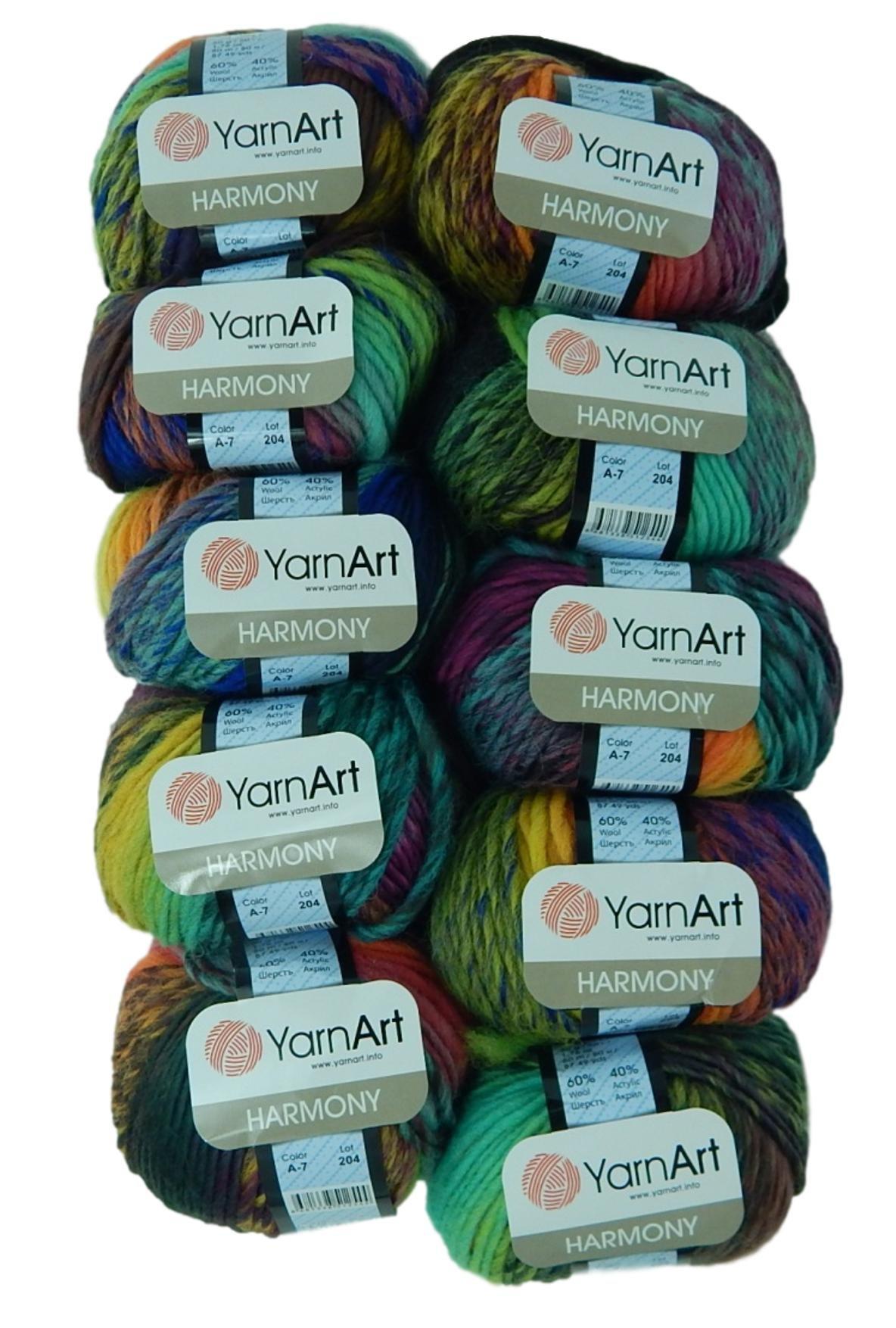 Bulk Buy Yarn Art Harmony 10-Ball Lot Medium #4 Worsted Wool Acrylic Blend (Harmony A7)
