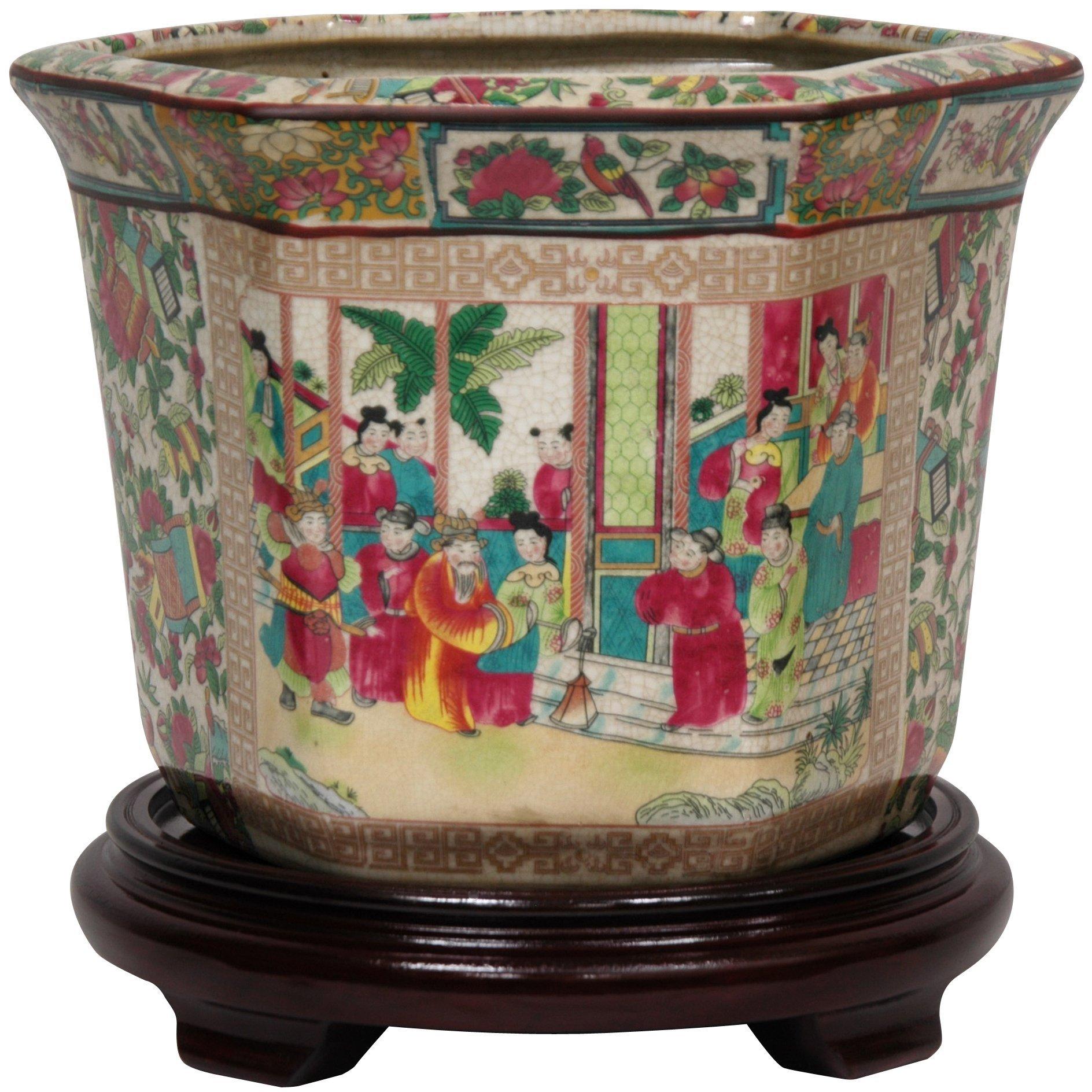 Oriental Furniture 10'' Rose Medallion Porcelain Flower Pot