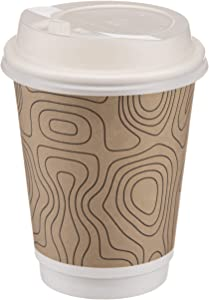 (100 Pack) Disposable Coffee Cups with Lids - 12 oz Togo Coffee Cup Triple Walled Paper Cups, 100% Biodegradable & Compostable Cups with Lids, Extra Thick Great Insulated Cups To Go -No Sleeves Needed