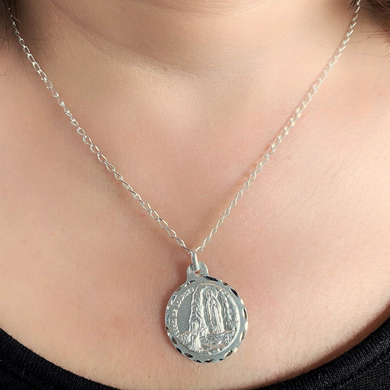 Medalla Religiosa Plata de Ley 925 mil/ésimas. Medalla Virgen de Lourdes 21 mm