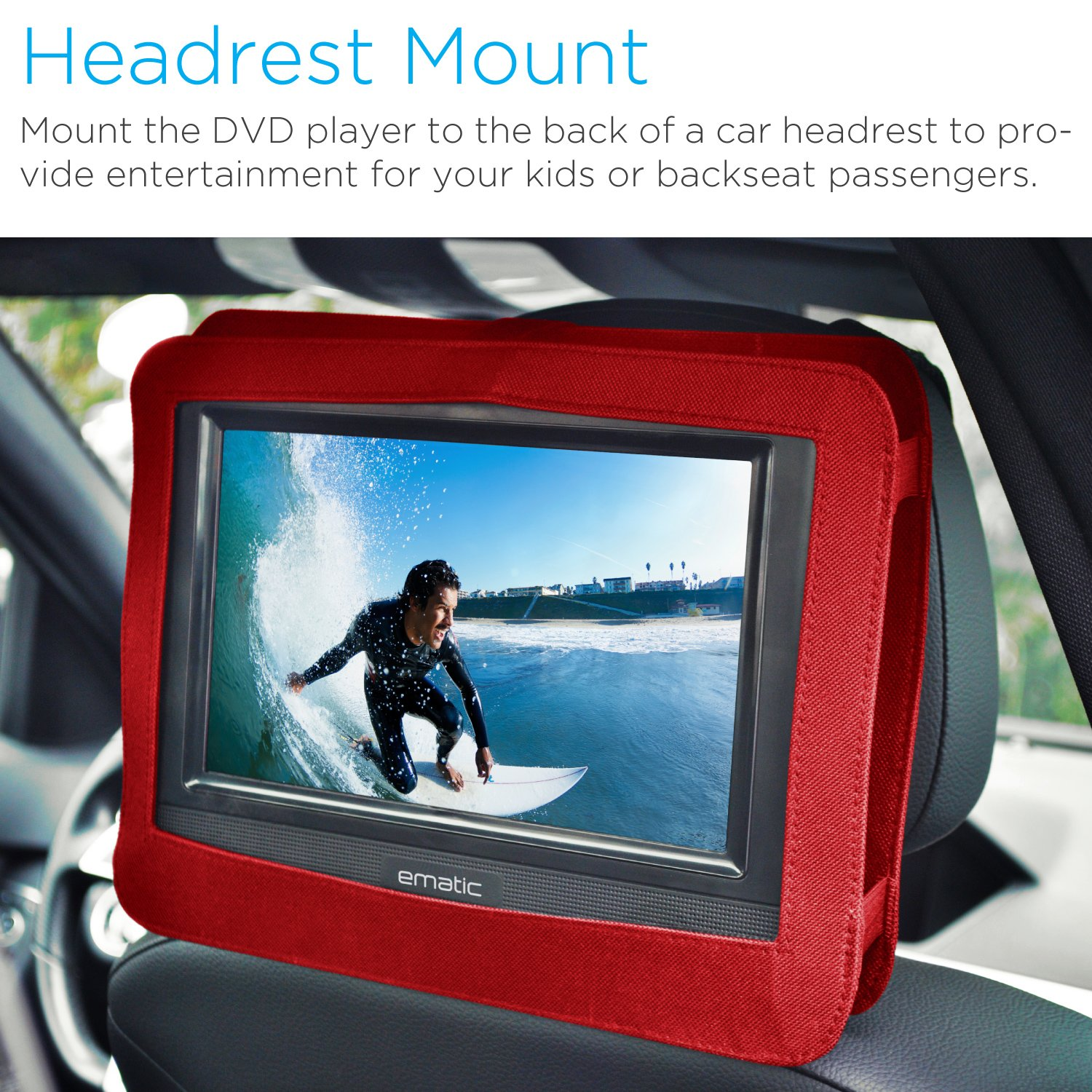 amazoncom ematic 10 portable dvd player swivel screen with matching headphones car headrest mount red electronics