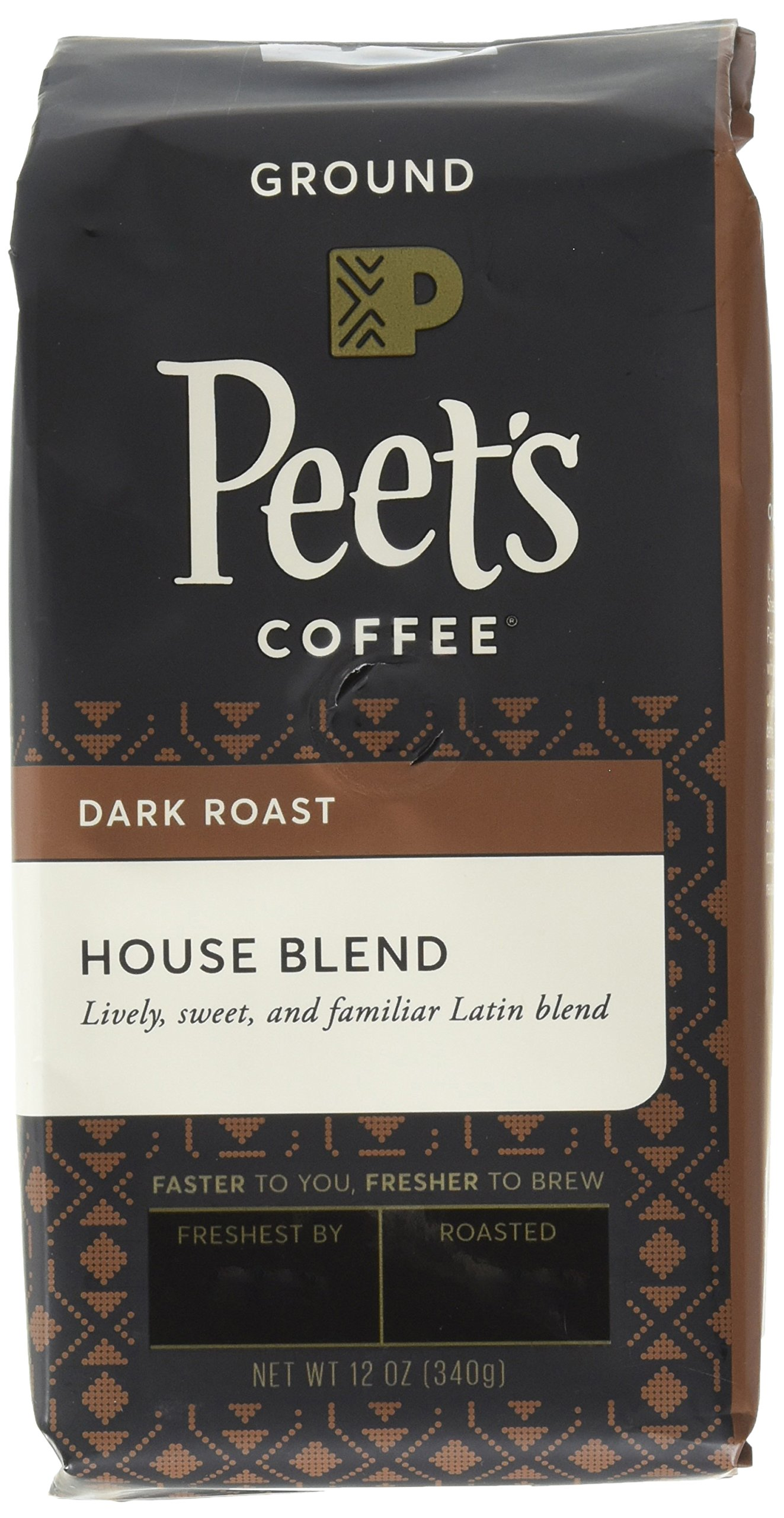Peet's Coffee House Blend Ground, Dark Roast, 12oz (Pack of 2) bag (Packaging may vary)