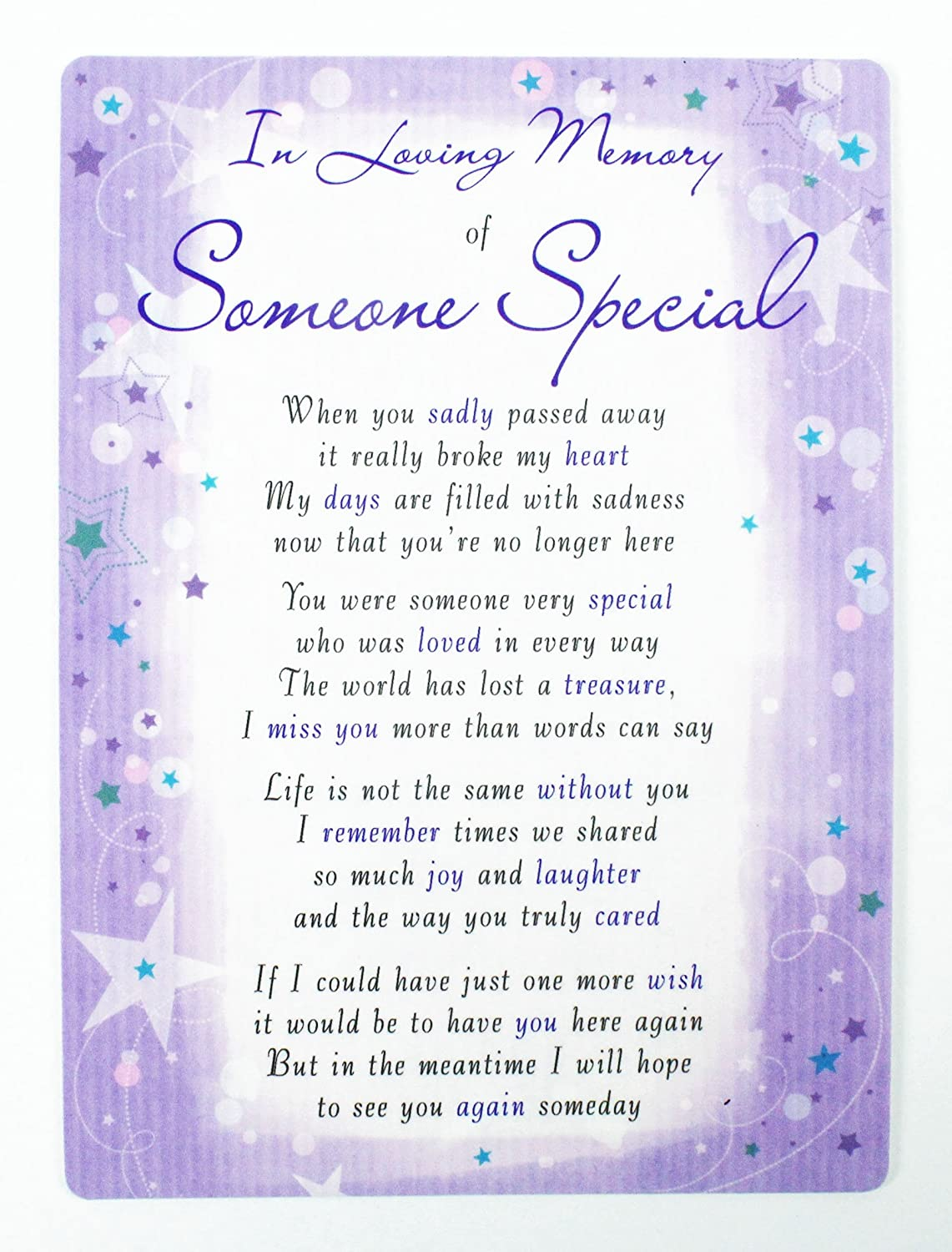 In Loving Memory Of Someone Special Grave Card Keepsake Graveside Poem Memorial Neon Candy