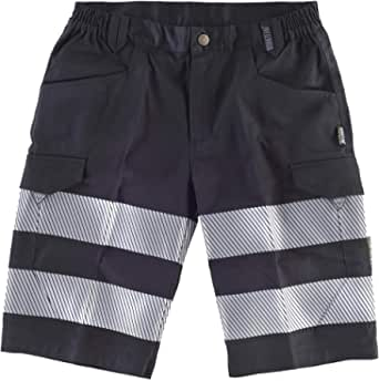 WorkTeam Pantalón Corto ó Bermuda Multibolsillos de Alta Visibilidad, con Cintas Reflectantes Discontinuas y Cintas Personalizadas, Trabajo. Unisex