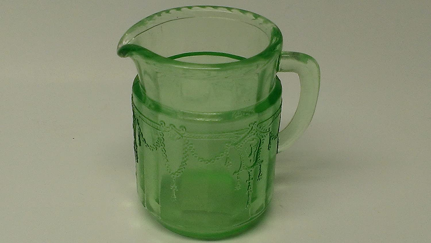 Miniature Childs Size Green Glass Beverage Pitcher Cameo Ballerina