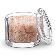 KooK Round Pressed Clear Glass Salt Cellar with Lid