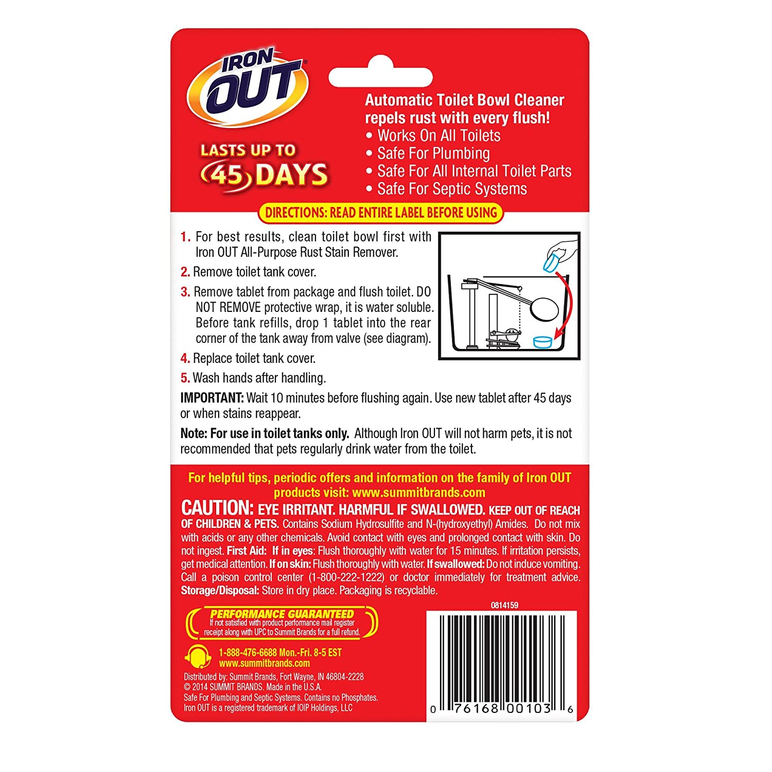 Amazon.com: Iron OUT Automatic Toilet Bowl Cleaner, 2 Tablets ...