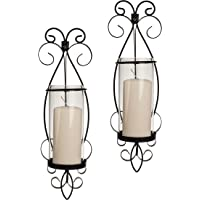 Danya B San Remo Wall Candle Sconce Set with Glass Hurricanes - Wrought Iron - Set of 2- Easy to Hang - Contemporary Home Décor