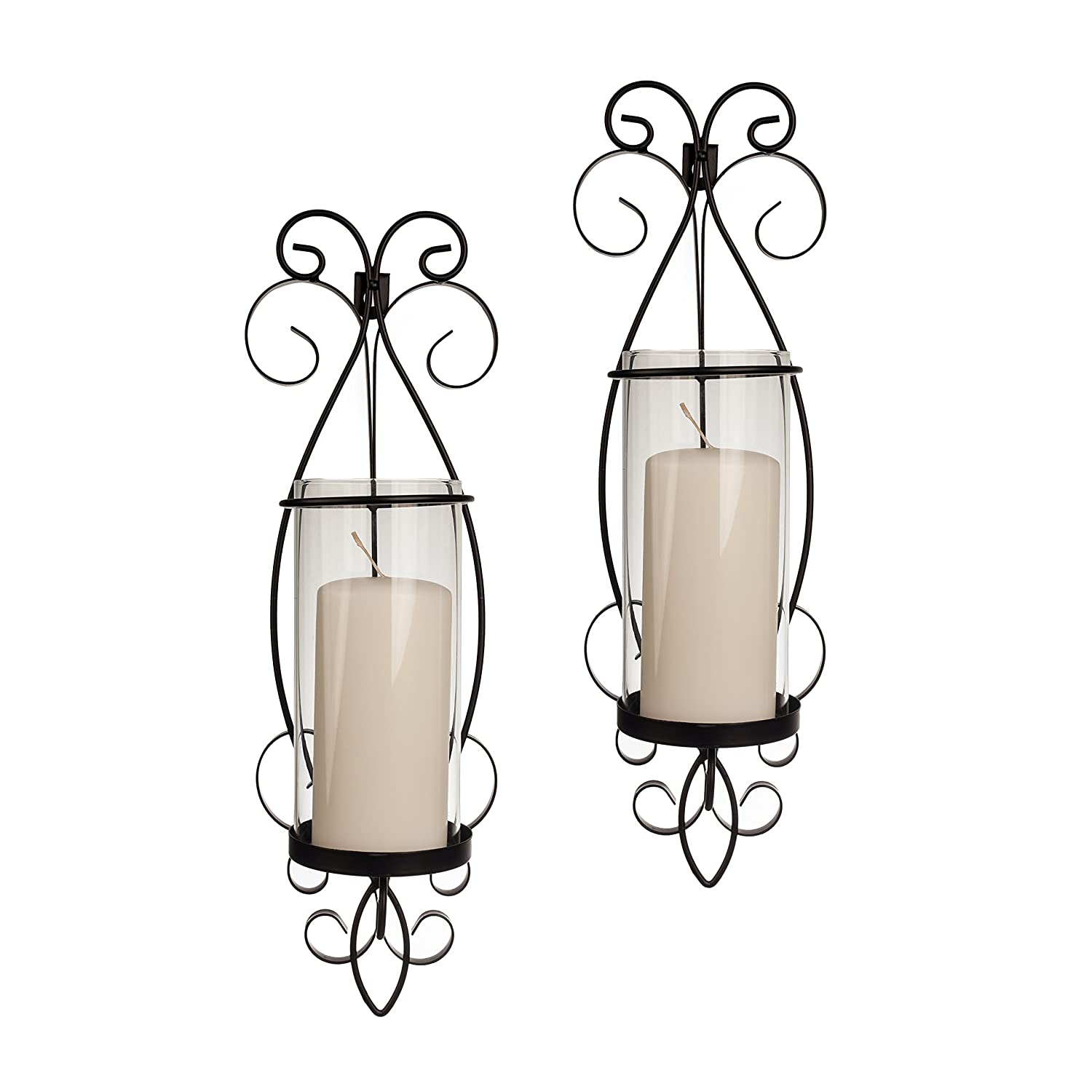 San Remo Wall Candle Sconce Set with Glass Hurricanes - Wrought Iron - Set of 2- Easy to Hang - Contemporary Home Décor by Danya B. KF632