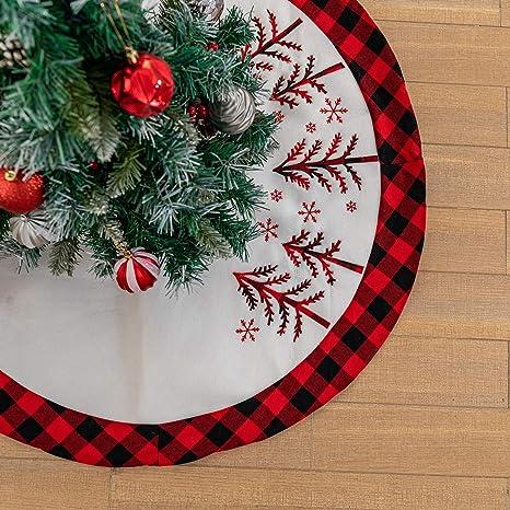 Tree Skirt,Christmas Tree Skirt Home Ornament Skirt Plaid Pattern Round Skirt Festive Accessories