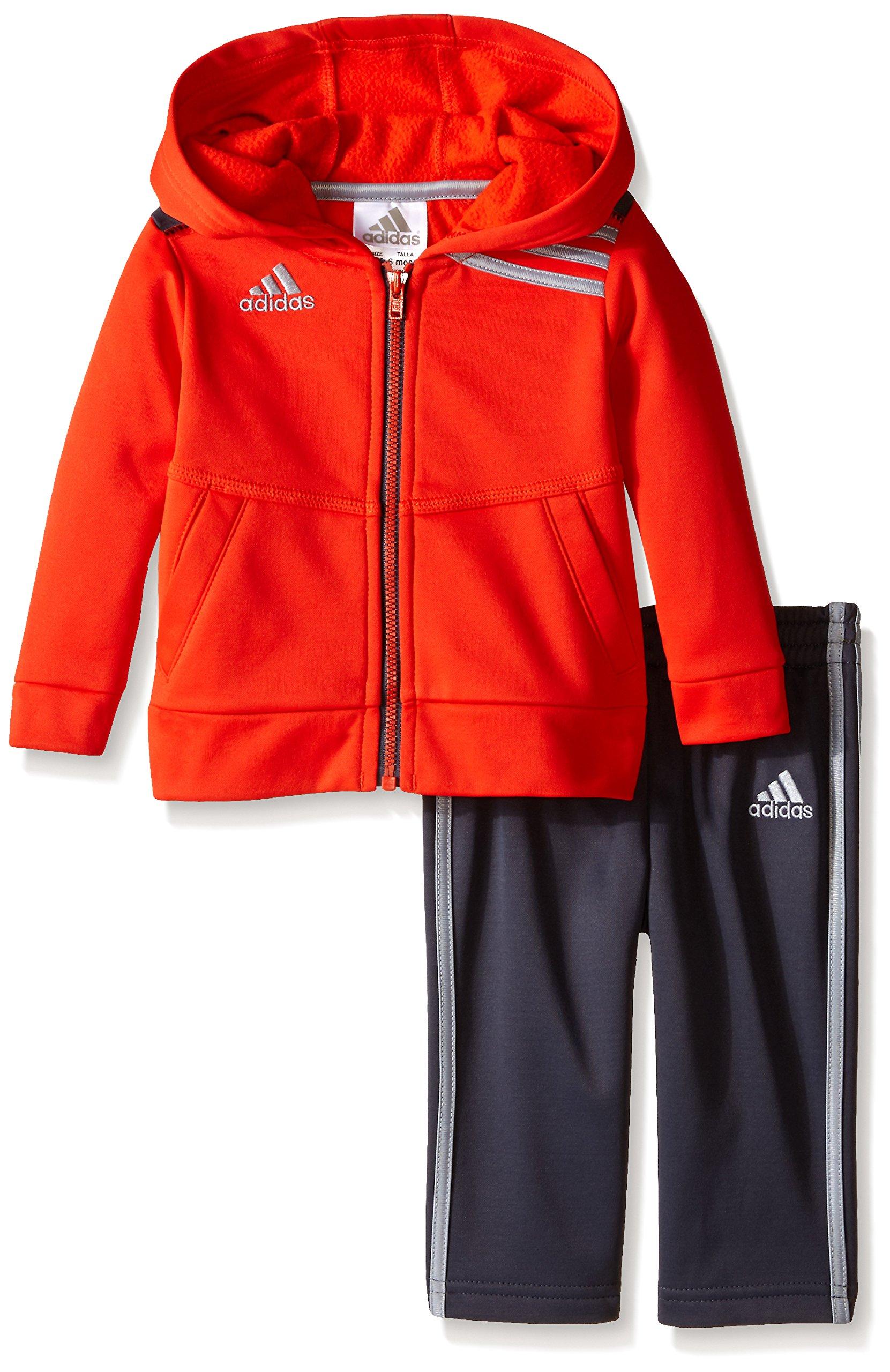 adidas Baby Boys' Zip Hoodie and Pant Set, Mercury Grey/Red, 12 Months