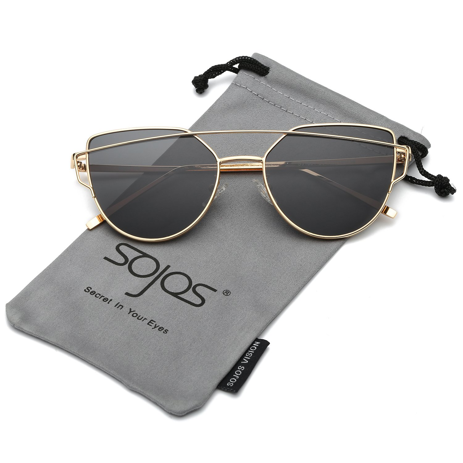 SOJOS Cat Eye Mirrored Flat Lenses Street Fashion Metal Frame Women Sunglasses SJ1001 with Gold Frame/Grey Lens